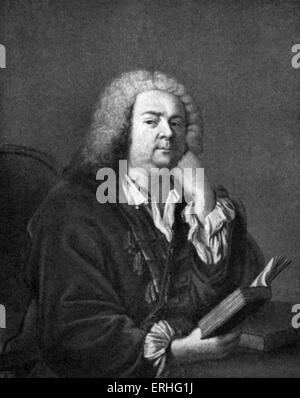 Jean-Baptiste Rousseau, portrait painting by Aved.  Holding a book with chin resting on hand.   French poet, comedic - Stock Photo