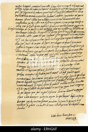 Mary Queen of Scots - manuscript letter to Queen Elizabeth, asking for permission to speak to a Catholic priest - Stock Photo