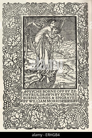 Psyche borne off by Zepyrys', engraving from William Morris' . Illustration from Manifesto for the founding of Kelmscott - Stock Photo