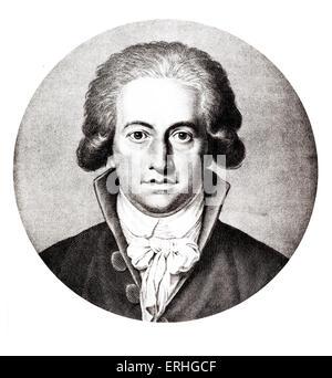Johann Wolfgang von Goethe, engraved portrait by Johann Heinrich Lips, 1791. German writer, politician, humanist, - Stock Photo