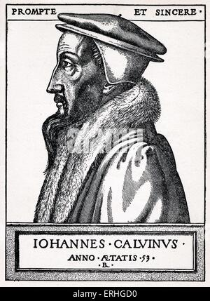 Johannes Calvinus / Jan Kalvin / John Calvin, engraved portrait. French reformer 1509-1564 - Stock Photo