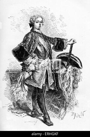 King Louis XV of France - illustration of king as a young man. 15 February 1710 - 10 May 1774.  King from 1 September - Stock Photo