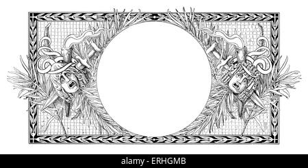 Comedy and Tragedy - a surround for a circular picture with the masks of comedy and tragedy. Border - Stock Photo