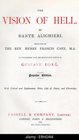 Dante Alighieri, La Divina Commedia, L'Inferno (The Divine Comedy, Hell) - Title page in English 'The Vision of - Stock Photo