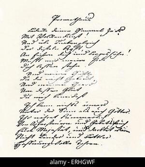 Johann Wolfgang von Goethe 's handwritten manuscript of Prometheus,  written c.1774. German novelist, dramatist, - Stock Photo