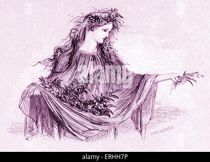 Shakespeare 's play Hamlet - Ophelia in Act IV Scene V : ' And will he not come again? ' English poet and playwright. - Stock Photo