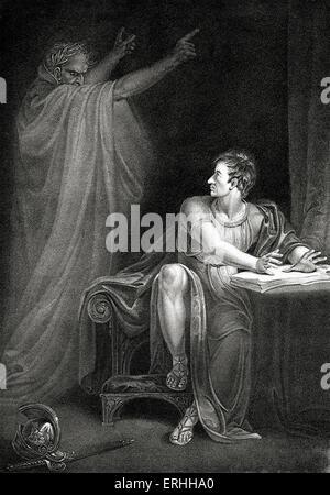 William Shakespeare 's play Julius Caesar - Act IV Scene III: Brutus and the ghost of Caesar.  English poet and - Stock Photo