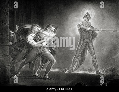 William Shakespeare 's play Hamlet - Act I Scene IV: Hamlet and the ghost of his father.  English poet and playwright. - Stock Photo