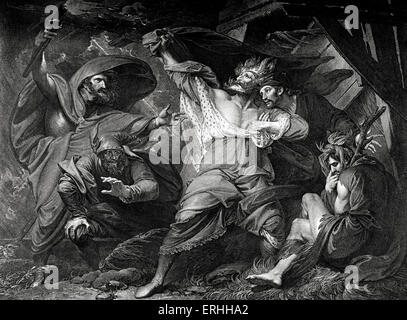 William Shakespeare 's play King Lear - Act III Scene IV: King Lear, Kent, Fool, Edgar (disguised as a Madman) and - Stock Photo