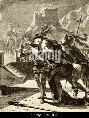 SHAKESPEARE - HAMLET Act I, Scene IV by E Delacroix, tragedy, ghost scene - Stock Photo