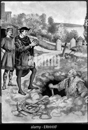 William Shakespeare 's play 'Hamlet' - Act V, scene 1: Hamlet and Horatio by the grave being dug for Ophelia. Shakespeare: - Stock Photo