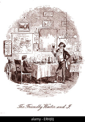 David Copperfield by Charles Dickens. Illustration by Phiz (Hablot Knight Browne). Caption reads: The Friendly Waiter - Stock Photo