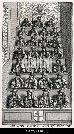 Thomas De Laune 's history of London, 'Present State of London', 1681 - Frontispiece - The Lord Mayor & Court of - Stock Photo