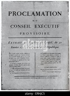 Louis XVI, King of France - Placard of order for his execution. 23 August 1754 - 21 January 1793. His excecution - Stock Photo