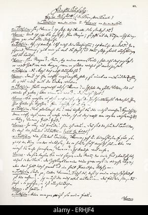 Gotthold Ephraim Lessing - handwritten manuscript for the German writer 's play, Minna von Barnhelm (1767) (Minna - Stock Photo