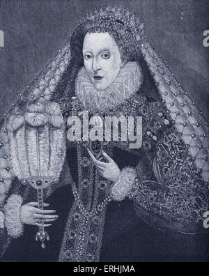 Queen Elizabeth I - portrait of the Queen of England, 7th of September 1533 - 24th of March 1603.  Reigned from - Stock Photo