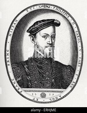 Philip II of Spain - portrait.  Engraving by F. Hogenburg, 1555. 21 May 1527 – 13 September  1598.  Felipe II. - Stock Photo