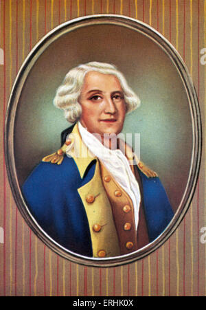 George Washington. Portrait of  first President of the United States. 22 February  1732 – 14 December 1799 - Stock Photo