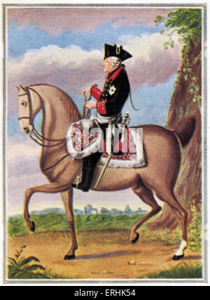 Frederick II. Portrait of the King of Prussia. Also known as Frederick the Great (Friedrich der Grosse). On horseback. - Stock Photo