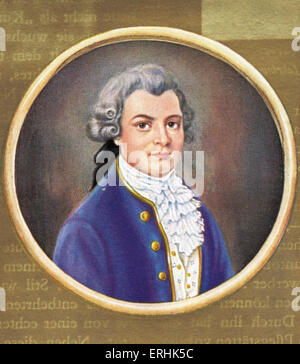 Gotthold Ephraim Lessing.  Portrait of the German writer, philosopher and critic. After an 18th century miniature. - Stock Photo