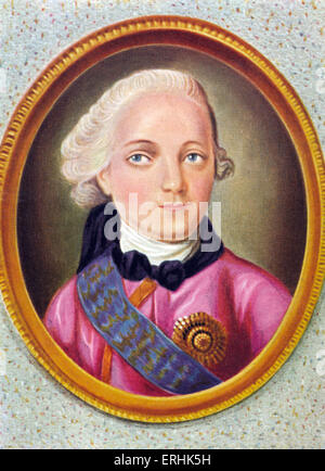 Paul I. Portrait of the Emperor of Russia. 1 October 1754– 23 March 1801. - Stock Photo