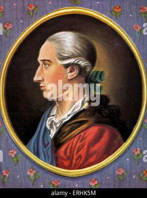 Johann Wolfgang von Goethe. Portrait of the German writer, scientist and philosopher. 28 August 1749 – 22 March - Stock Photo