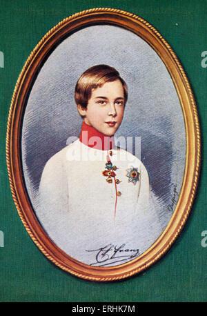 Francis Joseph I (Franz Joseph I). Portrait of the Emperor of Austria and King of Bohemia as a boy. After a miniature - Stock Photo