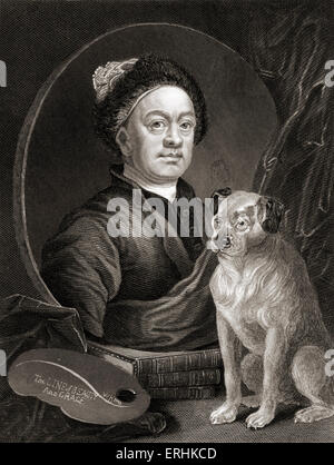 William Hogarth - self portrait of the English painter and artist with a dog. 10 November 1697 - 26 October 1764. - Stock Photo