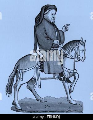 Geoffrey Chaucer - Portrait of the English poet on horseback. c. 1343-1400 - Stock Photo