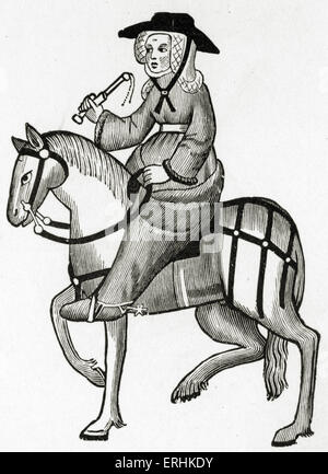 Geoffrey Chaucer's The Wife of Bath on horseback. from The Canterbury Tales - c. 1343-1400. Ellesmere manuscript - Stock Photo