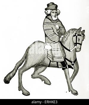 Geoffrey Chaucer ' s Canterbury Tales - The Franklin  on horseback.  English poet, c. 1343-1400. Ellesmere manuscript - Stock Photo