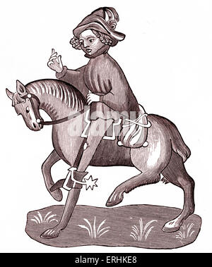 Geoffrey Chaucer's The Canon's Yeoman on horseback - from The Canterbury Tales. c. 1343-1400. Ellesemere manuscript - Stock Photo