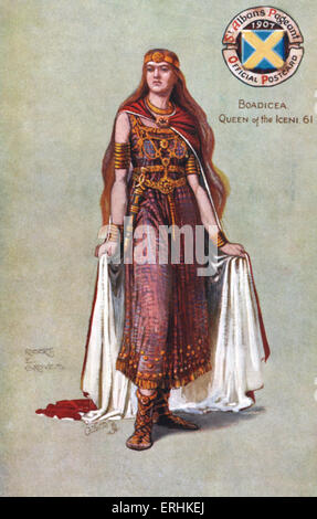 Boadicea (also Boudicca or Boudica), Queen of the Iceni.(1st century).  Original illustration by R.E Groves. 1907 - Stock Photo