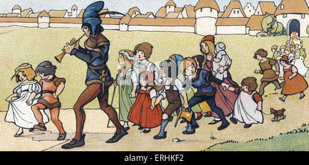 The Pied Piper of Hamelin (Der Rattenfänger von Hameln) luring the children of Hamelin out of the city. Illustration - Stock Photo