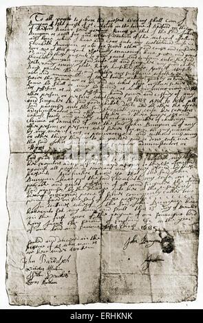 John Bunyan - the English writer 's handwritten will / testament, 1685. JB: 28 November 1628 - 31 August 1688. English - Stock Photo