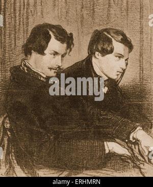 Edmond & Jules de Goncourt - French naturalism writers. Portrait by Paul Gavarni (1804-1866)  EG: 26 May 1822 – - Stock Photo