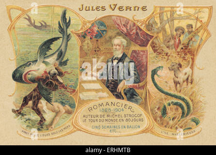 Jules Verne and his famous works - French writer 1828-1905.  Author of ' L'Ile Mysterieuse'   and '20,000 leagues - Stock Photo