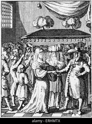 Jewish marriage under wedding canopy From book published in Utrecht, 1657 - Stock Photo