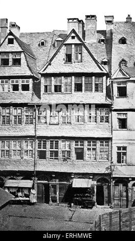 Mayer Amschel Rothschild - founder of famous banking dynasty, birthplace. In Judengasse, Frankfurt am Main. MAR: - Stock Photo