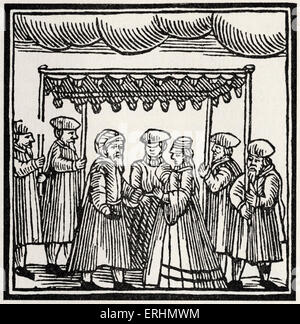 Jewish wedding under the marriage canopy Drawing from 1695 Amsterdam Passover Hagadah - Stock Photo