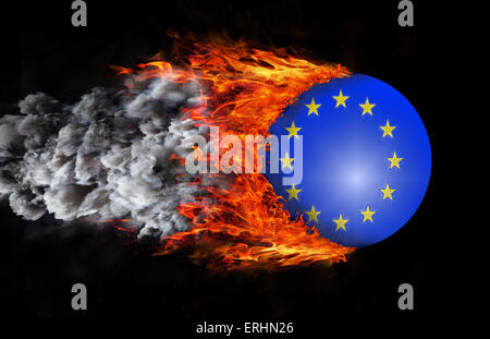 Concept of speed - Flag with a trail of fire and smoke - European Union - Stock Photo