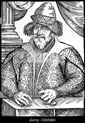 Ivan the Terrible - portrait of the Russian czar / tsar. Ivan IV of Russia: 25 August 1530 - 18 March 1584.   First - Stock Photo