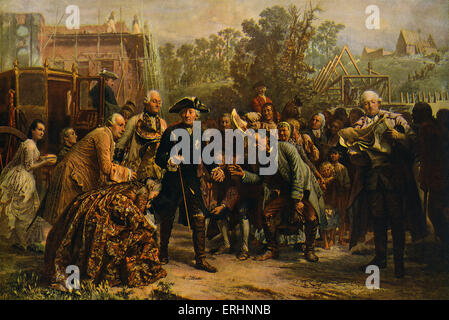 'Friedrich der Große auf Reisen' (Frederick the Great on his travels) - after a painting by Adolf von Menzel, c. - Stock Photo