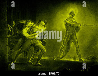 William Shakespeare 's play Hamlet - Act I Scene IV. Hamlet and the ghost of his father.  English poet and playwright. - Stock Photo