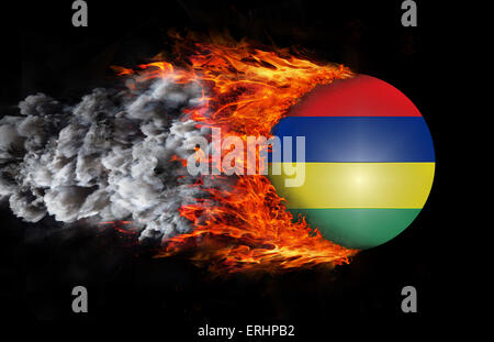 Concept of speed - Flag with a trail of fire and smoke - Mauritius - Stock Photo