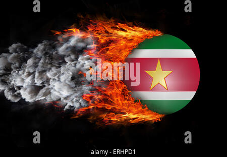 Concept of speed - Flag with a trail of fire and smoke - Suriname - Stock Photo