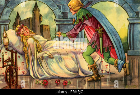 The Sleeping Beauty - Fairy tale by French author, Charles Perrault: 12 January 1628 – 16 May 1703. The scene where - Stock Photo