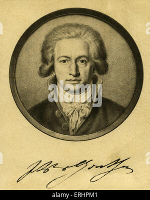Johann Wolfgang von Goethe - 1791 with signature.  German writer: 28 August 1749 – 22 March 1832. - Stock Photo