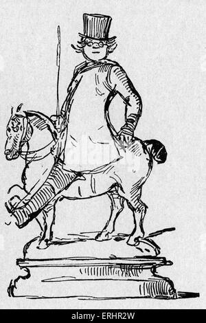 William Makepeace Thackeray - English novelist, 18 July 1811 – 24 December 1863. Self- parody. - Stock Photo