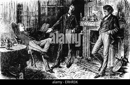 'The Mystery of Edwin Drood' by Charles Dickens. Caption reads:  On dangerous ground -Illustration drawn by Luke - Stock Photo